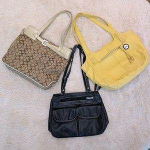 Lot of 3 shoulder bag purses yellow black tan